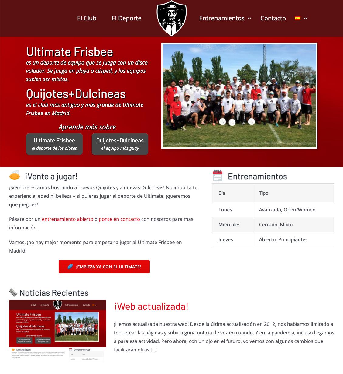 Nueva Web Quijotes + Dulcineas Ultimate Madrid 2021